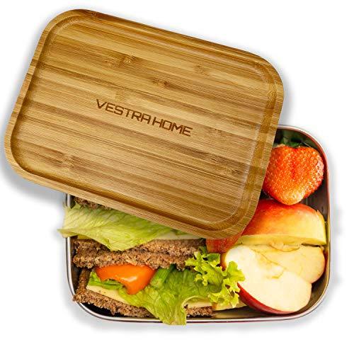VESTRA HOME | Lunchbox aus Edelstahl mit Bambusdeckel | 1.200 ml | Ideal zur Schule, für die Arbeit und zum...