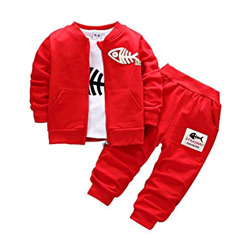 Neugeborene Baby Jungen Mantel + Hosen + Hemden Bekleidungsset kleinkinder Kausal 3 Teile Outfits, Rot, 3...