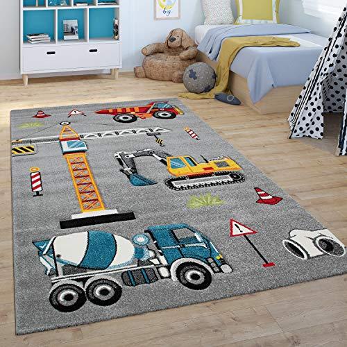 Paco Home Kinder-Teppich, Spiel-Teppich Für Kinderzimmer, Bagger, Kran, Baustelle, Grau, Grösse:160x230 cm