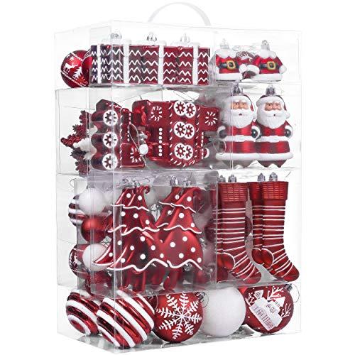 Valery Madelyn Weihnachtskugeln 155tlg. Plastik Christbaumkugeln Set Christbaumschmuck für Weihnachtsbaum...