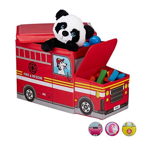 Relaxdays Sitzbox Kinder, Staubox mit Deckel, Spielzeug, faltbar, Feuerwehrauto, Stauraum, Jungen & Mädchen,...