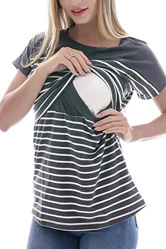 Smallshow Stillshirt Kurzarm Umstands Tshirt Umstandstop Umstandsmode Stilltop Baumwolle Schwangerschaft...