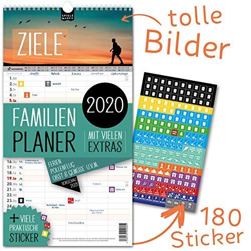 Familienplaner 2020 – ZIELE   5 Spalten   Wandkalender: 23x43cm   Familienkalender Extras: 180 praktische...