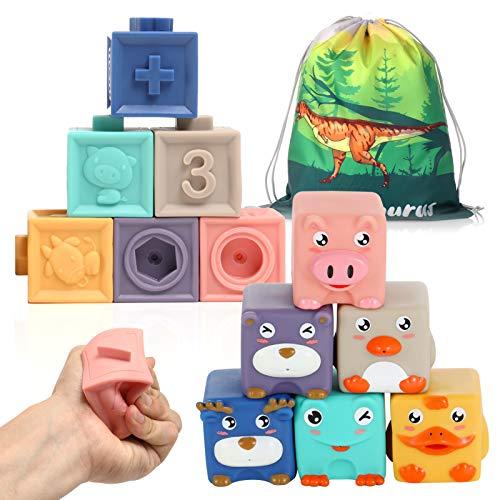 12 Stück Baby Bausteine Spielzeug-Weiche Quetschbare Blöcke, Tiere und Zahlen Montessori Badespielzeug,...