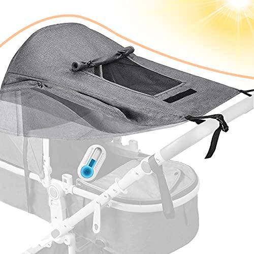 Dioxide Universal Kinderwagen Sonnensegel mit UV Schutz 50+ und Wasserdicht,Sichtfenster und extra breite...