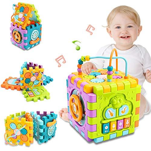 nicknack Aktivitätswürfel Babyspielzeug, 6 in 1 Mehrzweck-Lernwürfel mit Musik, Aktivitätscenter...
