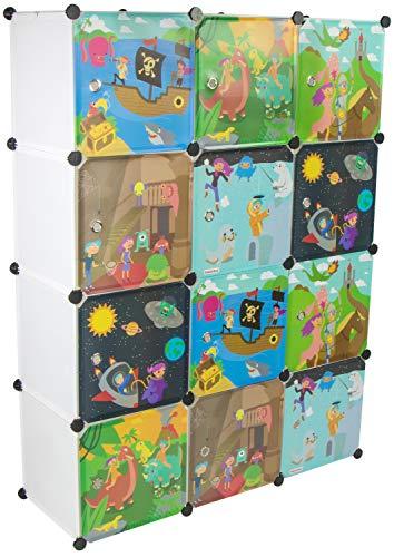 KEKSKRONE Sehr Großer Kinderschrank Bunte Motiv-Türen - DIY Stecksystem - 12 Module je 37 x 37 x 37 cm,...
