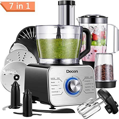 Küchenmaschine Multifunktional 1100W, 3 Geschwindigkeiten, Elektrischer Zerkleinerer, Standmixer,...