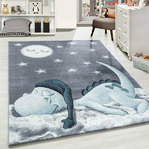 Carpetsale24 Kinderteppich » BAMBIX «, Kinderzimmerteppich, Dino Wolke Figur Kinderzimmer Babyzimmer,7 mm,...