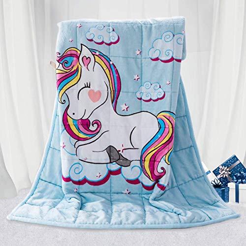 BUZIO Kinder gewichtete Decke 2,3kg, Einhorn Decke für Kinder mit 4 Farboptionen, Ultraweich und Gemütlich...