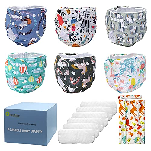 Baby Stoffwindeln, Exqline Wiederverwendbare Windeln, Waschbare Weiche Atmungsaktive Taschenwindeln,6pcs...
