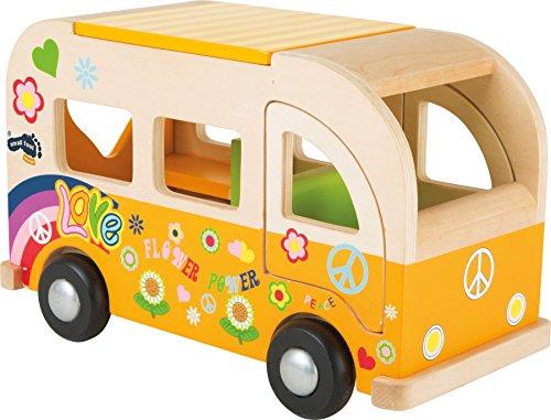 small foot 2744 Spielbus Hippie aus Holz, im Flower-Power-Design, mit zu öffnenden Türen und Dach, ab 18...