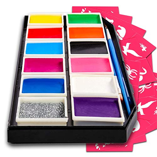 Kinderschminke für empfindliche Haut - Gesichtsmalfarbe Set mit 12 Farben - 3 Pinsel, 30 Schablonen - extra...