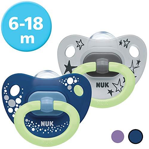 NUK Happy Nights Schnuller mit Leuchteffekt, 6-18 Monate, Silikon, 2 Stück mit Schnullerbox, Blau