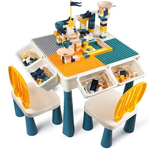 AMOSTING Höhenverstellbar Kindertisch mit Stühle , enthalten 100 Stück große Blöcke Kompatibel mit...