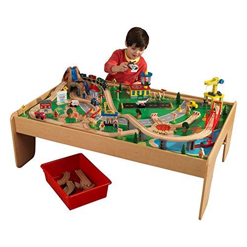 KidKraft 17850 Eisenbahnset und Spieltisch Waterfall Mountain Klassisches Spielzeugeisenbahn-Set mit Zubehör,...