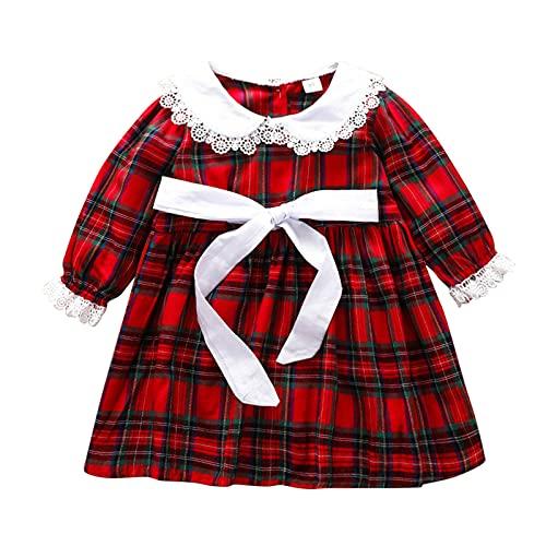 Kleinkind Baby Mädchen Herbst Casual Party Plaid Spitze Prinzessin Kleid Kinder Frühling und Herbst...