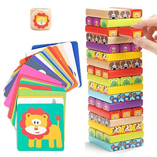 Nene Toys - Pädagogisches Kinderspiel ab 3 Jahre - Wackelturm 4 in 1 aus Holz mit Farben und Tieren -...