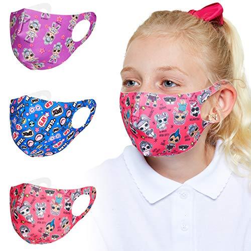 L.O.L. Surprise! Mundschutz Maske, 3er Pack Maske, Bequem Mundschutz Kinder mit Lol Puppen, Einhorn Maske...