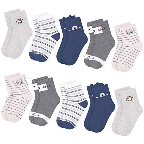 L&K-II 10 Paar Kinder Jungen Socken mit niedlichen Mustern Kinder Turnschuhe Socken farbige Baumwolle Jungen...