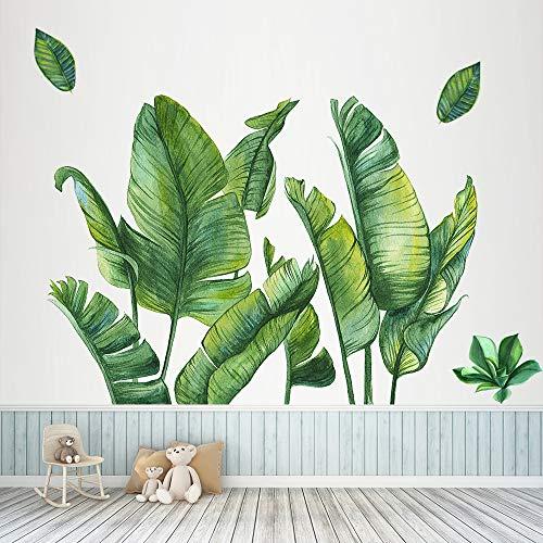 Grüne Bananenblatt tropische Pflanzen Wandaufkleber, Abnehmbare Baum Blätter Tapete Wandtattoo, DIY...