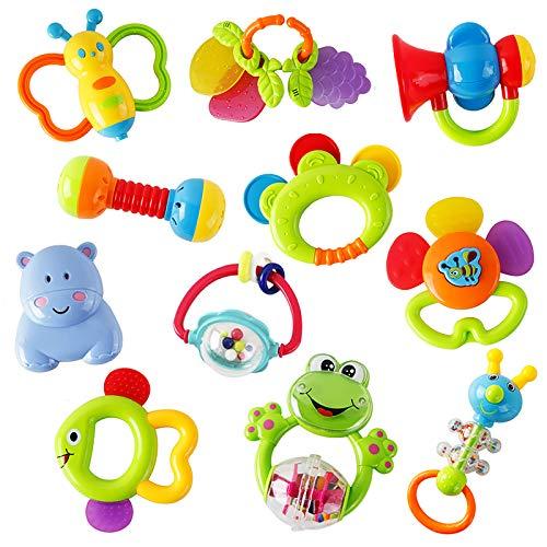 WISHTIME Rassel Beißring Set Baby Spielzeug ab 0 3 6 9 Monate 11 PCS Shaker Greifen Rassel Baby Kleinkind...