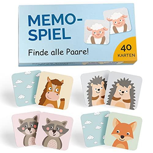 GLÜCKSWOLKE Memo - Spiel I Für Kinder ab 2 bis 6 Jahre I Montessori Spielzeug – fördert Konzentration +...