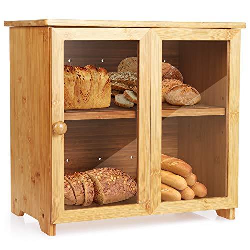 Tobeelec Bambus Brotkasten für Küchenarbeitsplatte, Brotaufbewahrungsbehälter mit verstellbarem Stauraum...