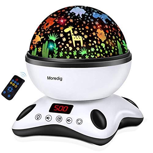 Moredig Sternenhimmel Projektor Kinder, Nachtlicht Baby mit Musik 360° Rotation + 12 Beruhigende Musik + 8...
