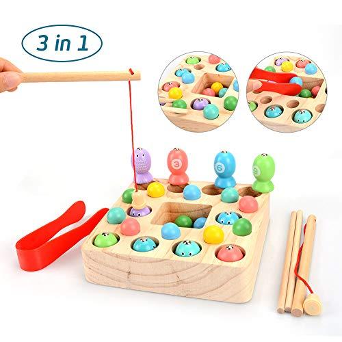 OYMMENEY Holzspielzeug 3 In 1 Angelspiel Montessori Spielzeug Lernspielzeug Magnettafel Kinderspielzeug für...