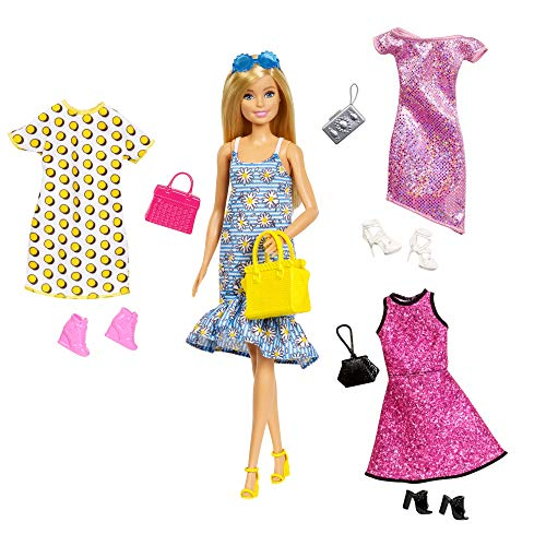Barbie Fashionistas Puppen-Set Blonde Puppe mit Outfits Kleidung und Zubehör für 4 komplette Outfits...