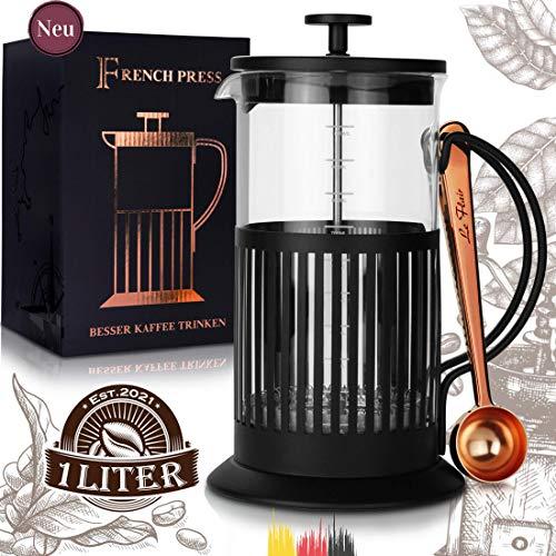 Le Flair® French Press schwarz für 1 Liter Kaffee - Tee Presskanne aus Glas mit Kaffeelöffel Kupfer -...