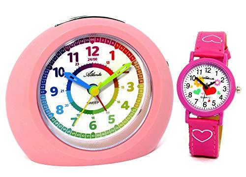 Kinderwecker ohne Ticken mit Armbanduhr Herzchen Rosa Mädchen - 1967-17 KAU