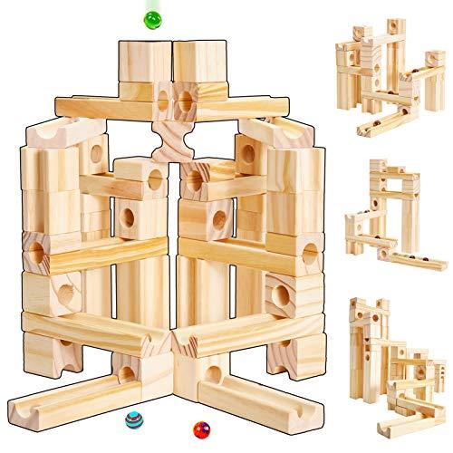 Onshine Baby Kugelbahn Murmelbahn Holz Bauklötze Bausteine Holzspielzeug Holzkugelbahn Spielzeug für Kinder...