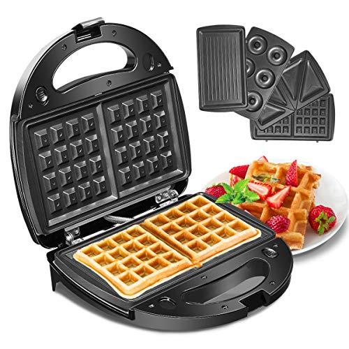 Waffeleisen, Godmorn 4IN1 Sandwichmaker, Waffelautomat, Waffel Maker, Sandwich-Toaster, Panini-Maschine,...