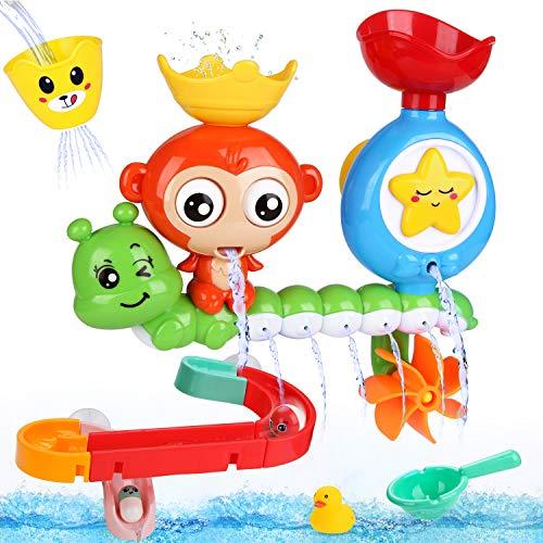 BBLIKE Badespielzeug für Babys, Kinder Wasser Dusche Badewannenspielzeug mit BAU-Puzzle Autorennbahn 14...