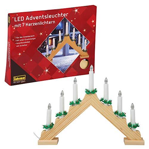 Idena 8582088 - LED Adventsleuchter aus naturfarbenem Holz mit 7 warmweißen LED Kerzenlichtern, mit...