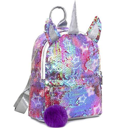 MOOKLIN ROAM Kinderrucksäcke, Einhorn Pailletten Tasche, Mädchen Schulrucksack Umhängetasche, Rucksack für...