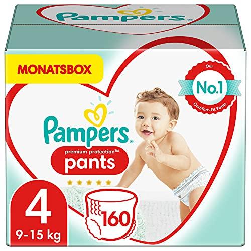 Pampers Baby Windeln Pants Größe 4 (9-15kg) Premium Protection, 160 Höschenwindeln, MONATSBOX, Weichster...