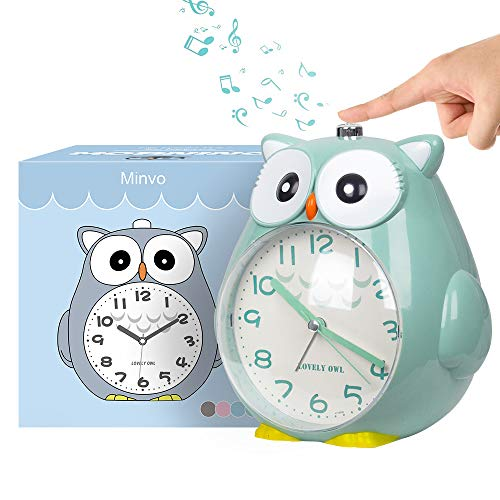 Wecker Kinder ohne Ticken Kinderuhr mit nachtlicht, Schlafzimmer Snooze Funktion Uhr mit Dim Yellow Night...