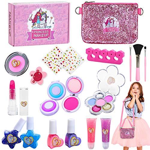 Jojoin Makeup Set für Kinder, 20 Stück Waschbar Kinderschminke Set, Einhorn Tasche mit 2 Langen Riemen,...