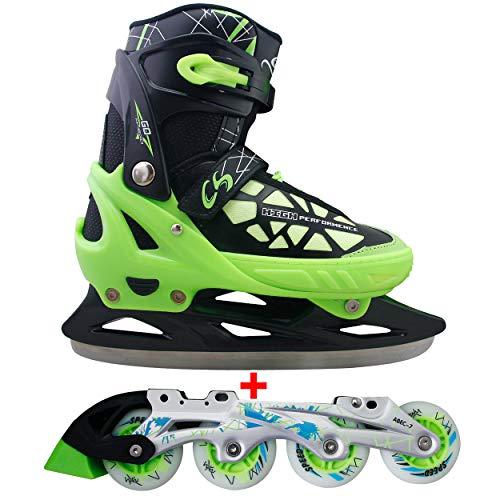 Cox Swain 2 in 1 Kinder Skates-/Schlittschuh -Blake- LED Leuchtrollen, ABEC 7 Carbon Lager, Schwarz/Grün, M...