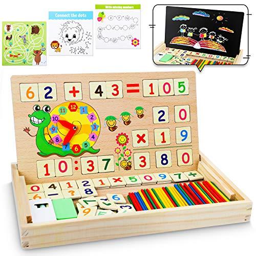 lenbest Montessori Mathe Spielzeug, Magnetisch Holz Lernbox, Zahlenlernspiel mit Spielkarten&Tafel,...