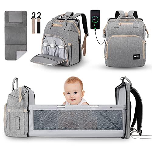 JUNSTAR Baby Wickelrucksack Wickeltasche mit Wickelauflage, Babytasche Große Kapazität Baby Reisetasche mit...