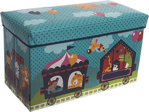 Bieco Aufbewahrungsbox mit Deckel Kinder Zirkus, faltbar, Sitzhocker mit Sitzgelegenheit, und Polsterung,...