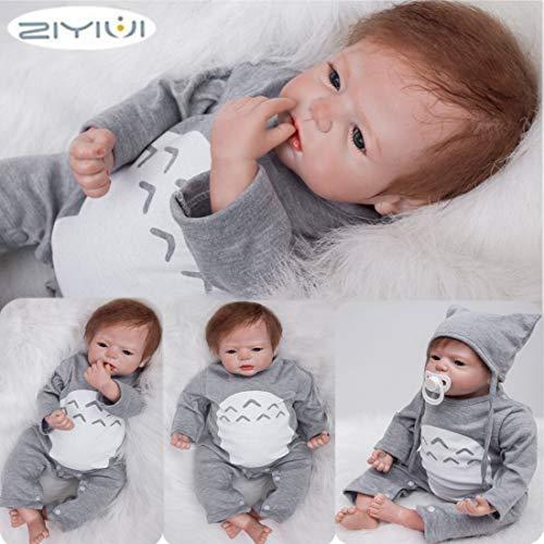 ZIYIUI 22 Zoll Reborn Babypuppe Realistisch 55 cm Neugeborene Reborn Silikon Weichkörper Lebensechtes Reborn...