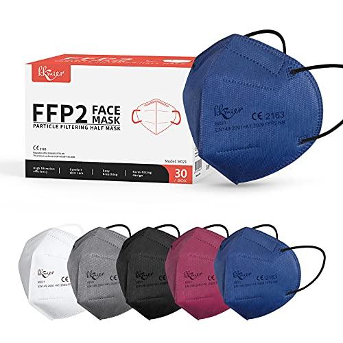 KKmier FFP2 Maske Mundschutzmasken 5 Lage Filterschutz Einweg-Atemschutzmasken Einzel Verpakt 30 Stück 5...