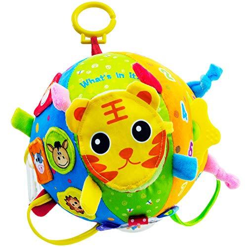 teytoy Softball weich Stoffball Plüschball Aufhängen Spielball mit Rassel, Löwe Tiger Tierbild – Baby...
