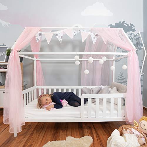 Alcube praktisches, Variables Hausbett 160x80 mit Rausfallschutz und Lattenrost in weiß Kinderbett 80 x 160...