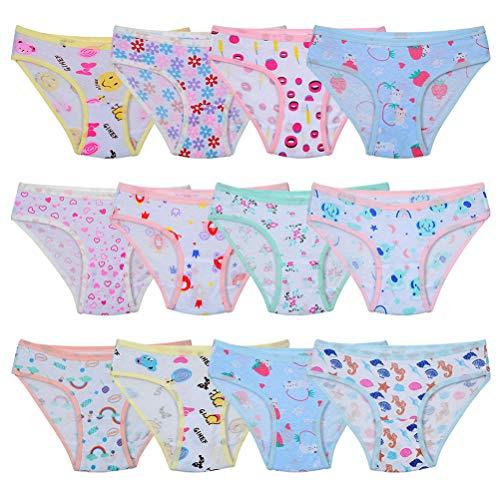 Kidear weiche Baumwoll.Unterwäsche für Babys und Kleinkinder, Slips für Mädchen, 12er-Pack, Alter 2-12...